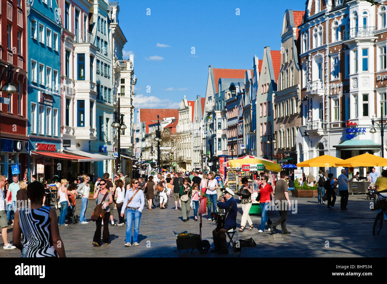 Rostock Shopping Shopping Street Kroepeliner Strasse Old Town Rostock Stock Photo