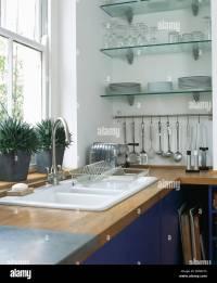 Shelves Above Kitchen Sink Stock Photos & Shelves Above ...