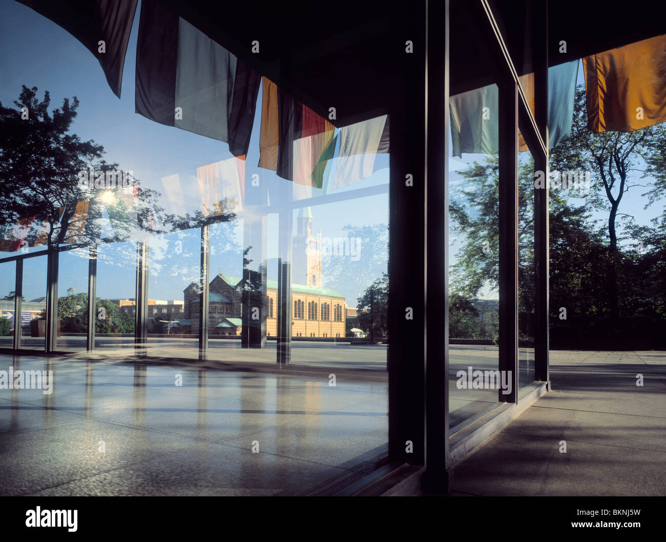 Mies Van Der Rohe Berlin Reflection In Windows Of The Neue National Gallery In Berlin Designed Stock Photo - Alamy