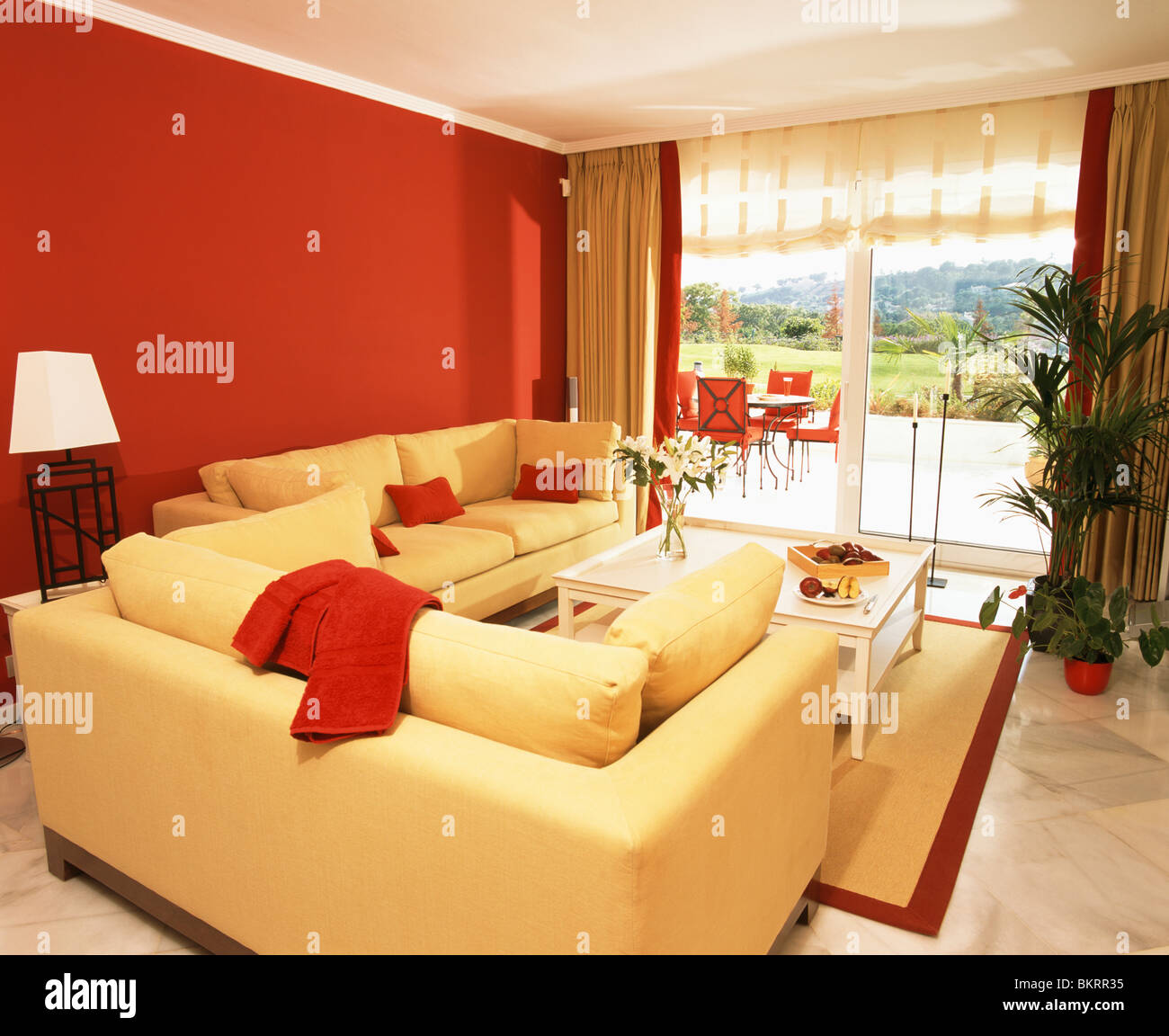 Red Wall Living Room Bright Yellow Sofas And Red Wall In Modern Living Room
