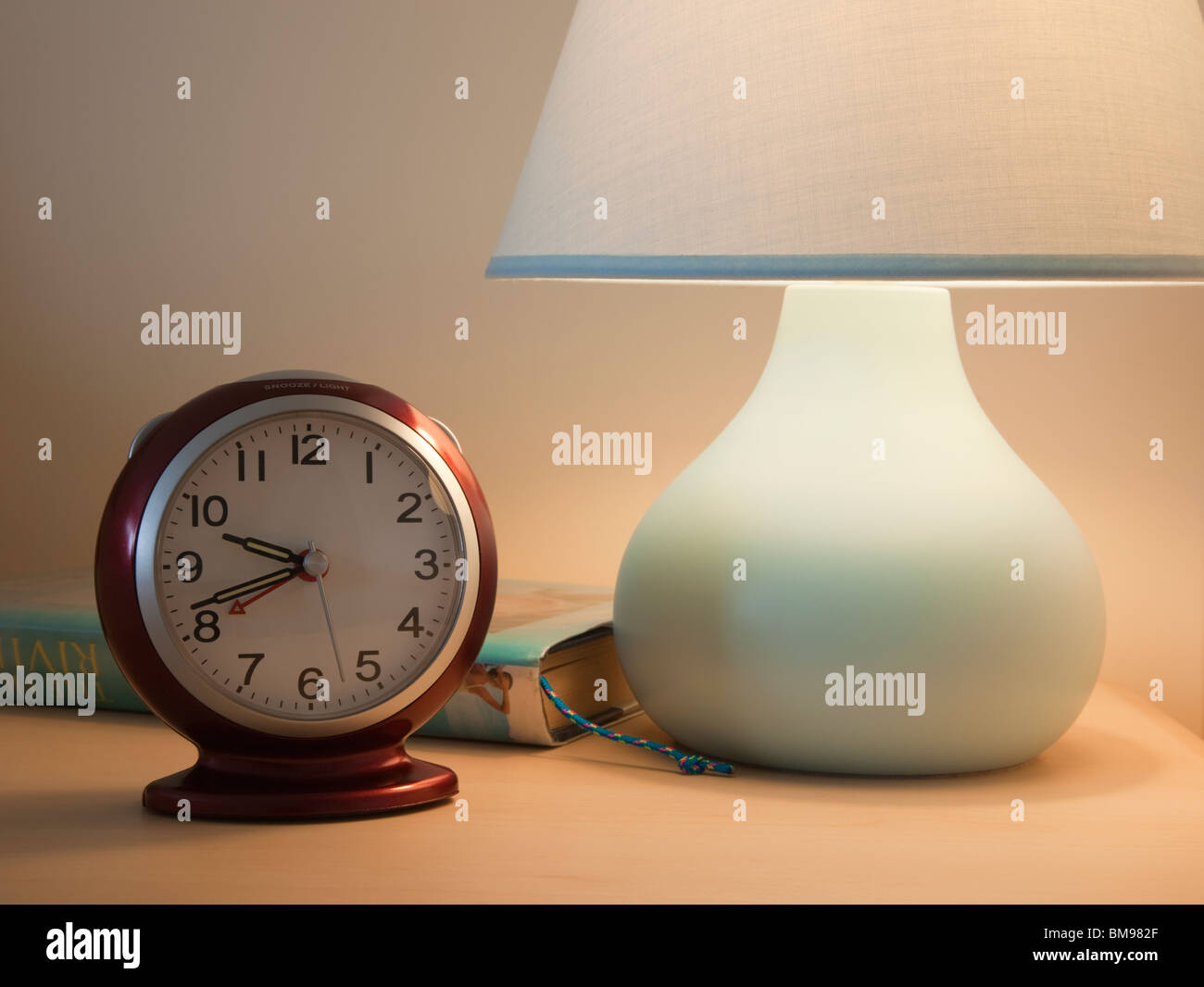 Bedside Table Clocks Close Up Of An Alarm Clock With Lit Bedside Table Lamp And