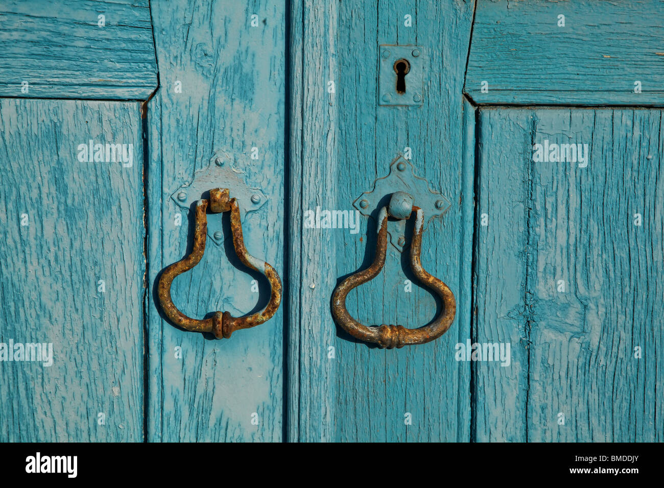 Rustic Door Knockers Rustic Blue Door Knockers Stock Photo Royalty Free Image