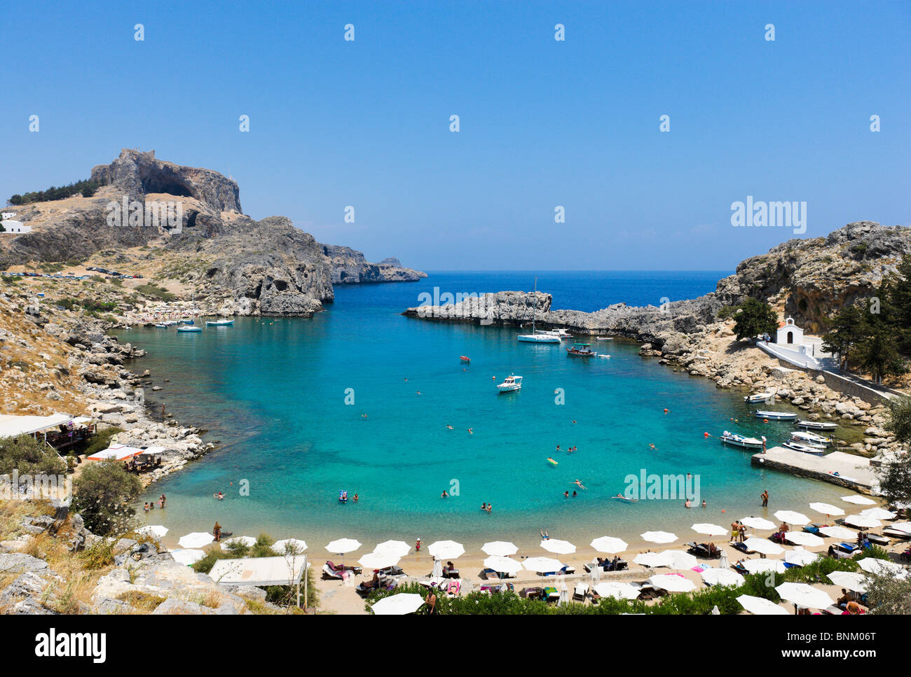Rhodes Lindos St Paul 39s Bay Beach With The Acropolis Behind Lindos