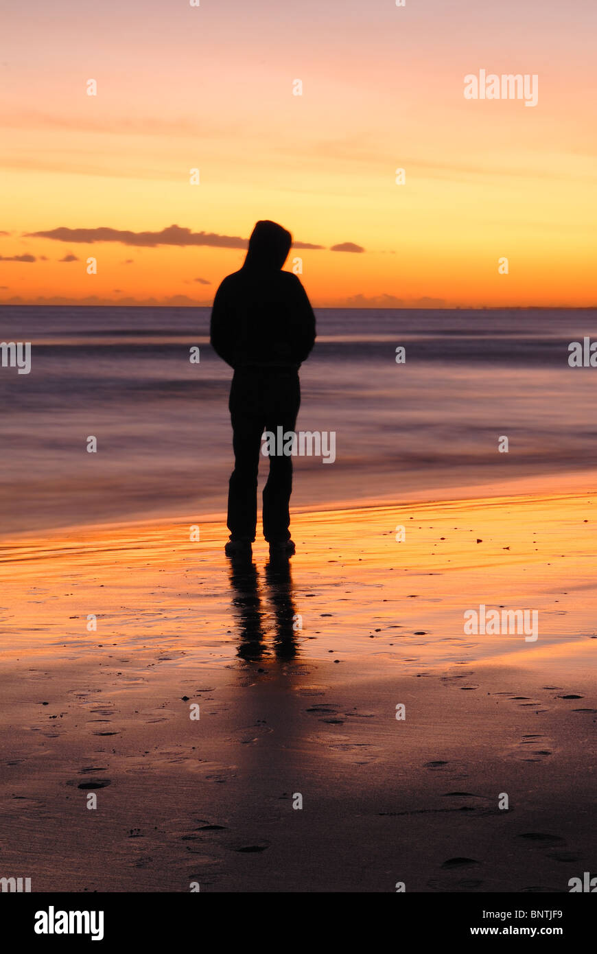 Back Side Girl Wallpaper One Man Alone Thinking Looking Out To The Sea Whilst The