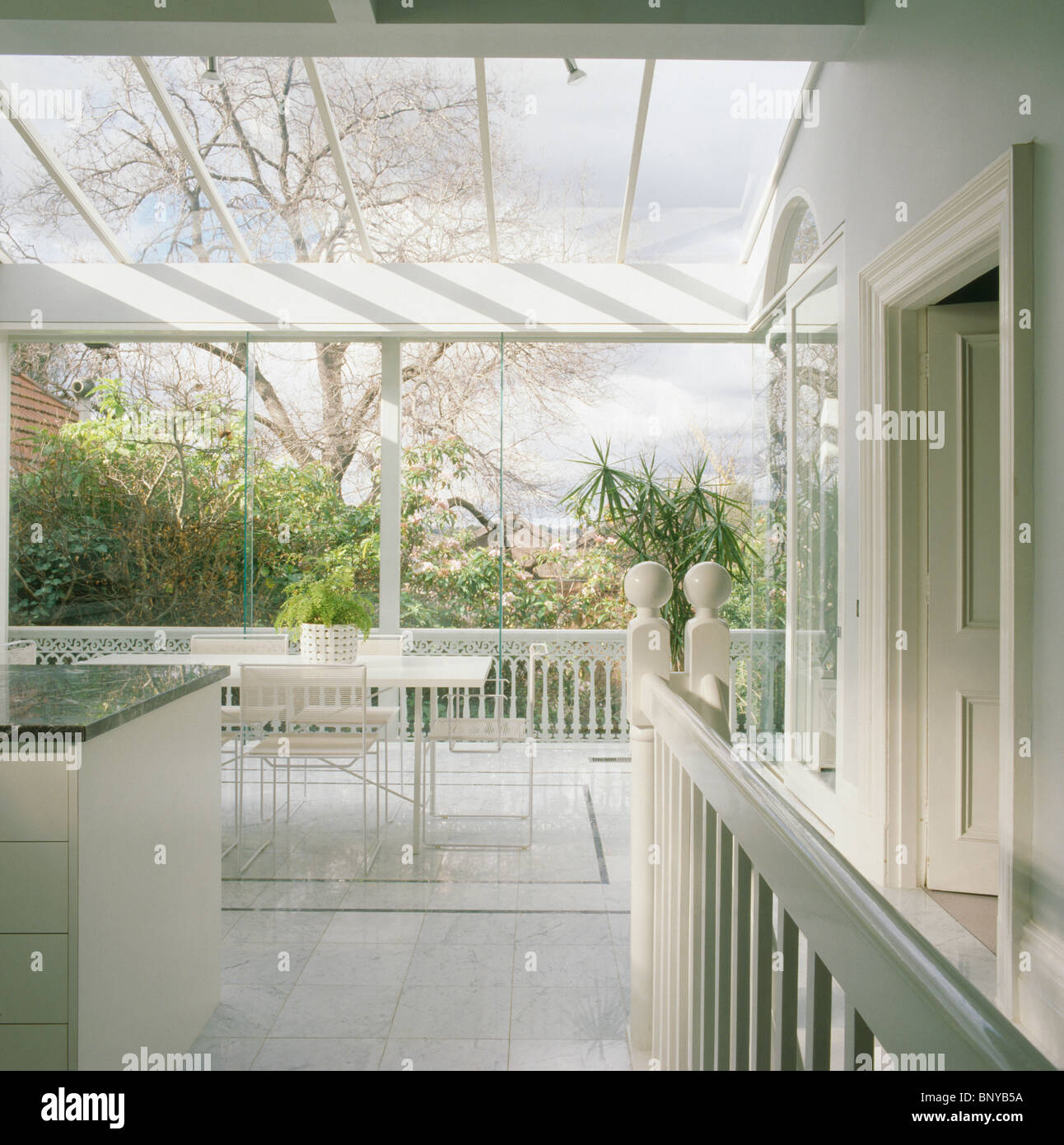 Glass Roof Extension Large Modern White Kitchen Dining Room Extension With Glass Roof