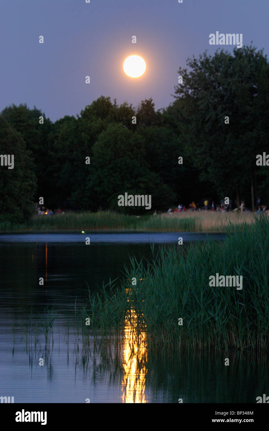 Britzer Garten Wasserspielplatz Midsummer Night Full Moon Over The Lake Buga Park Britzer
