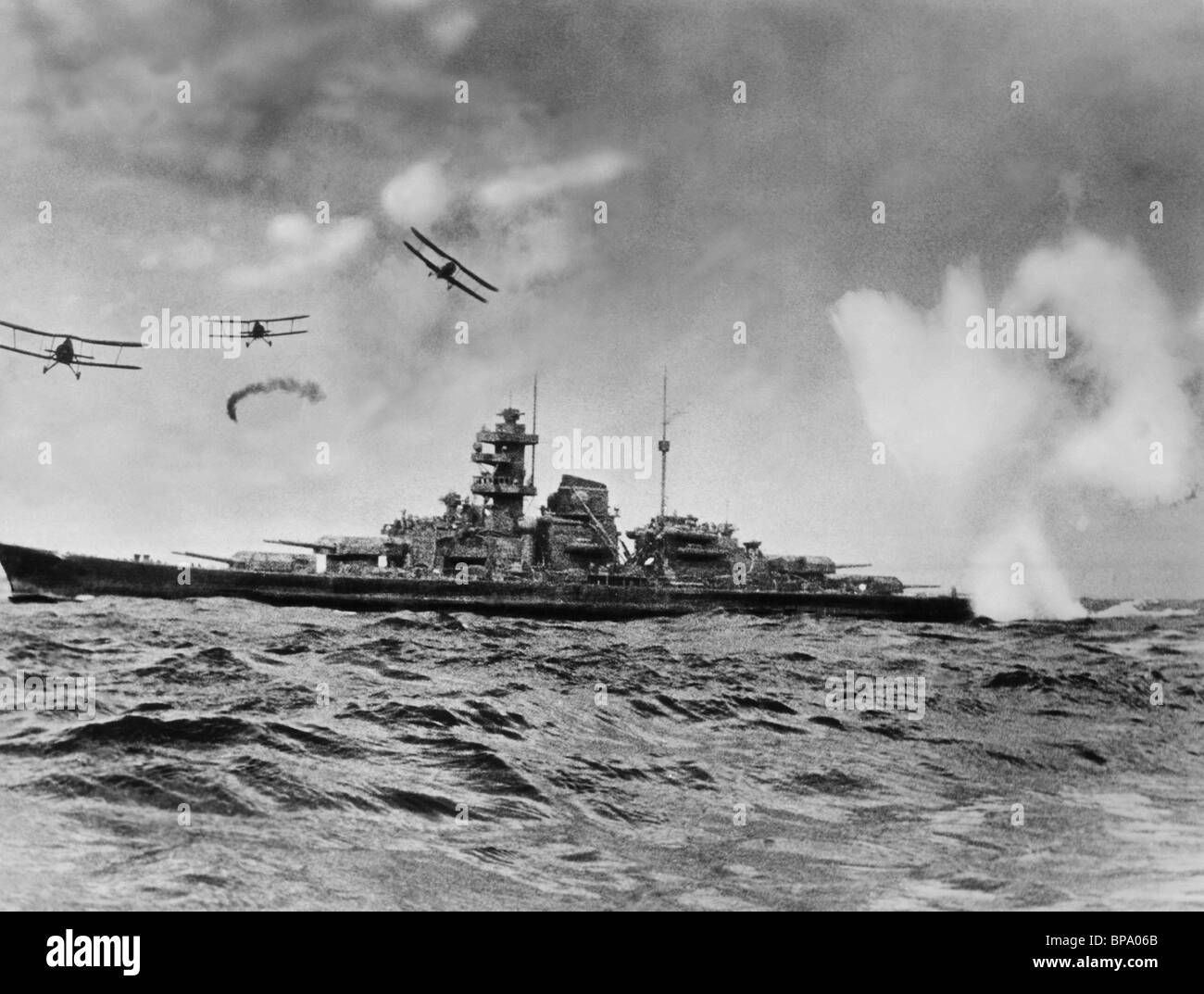 Planes Attack Warship Sink The Bismarck 1960 Stock Photo