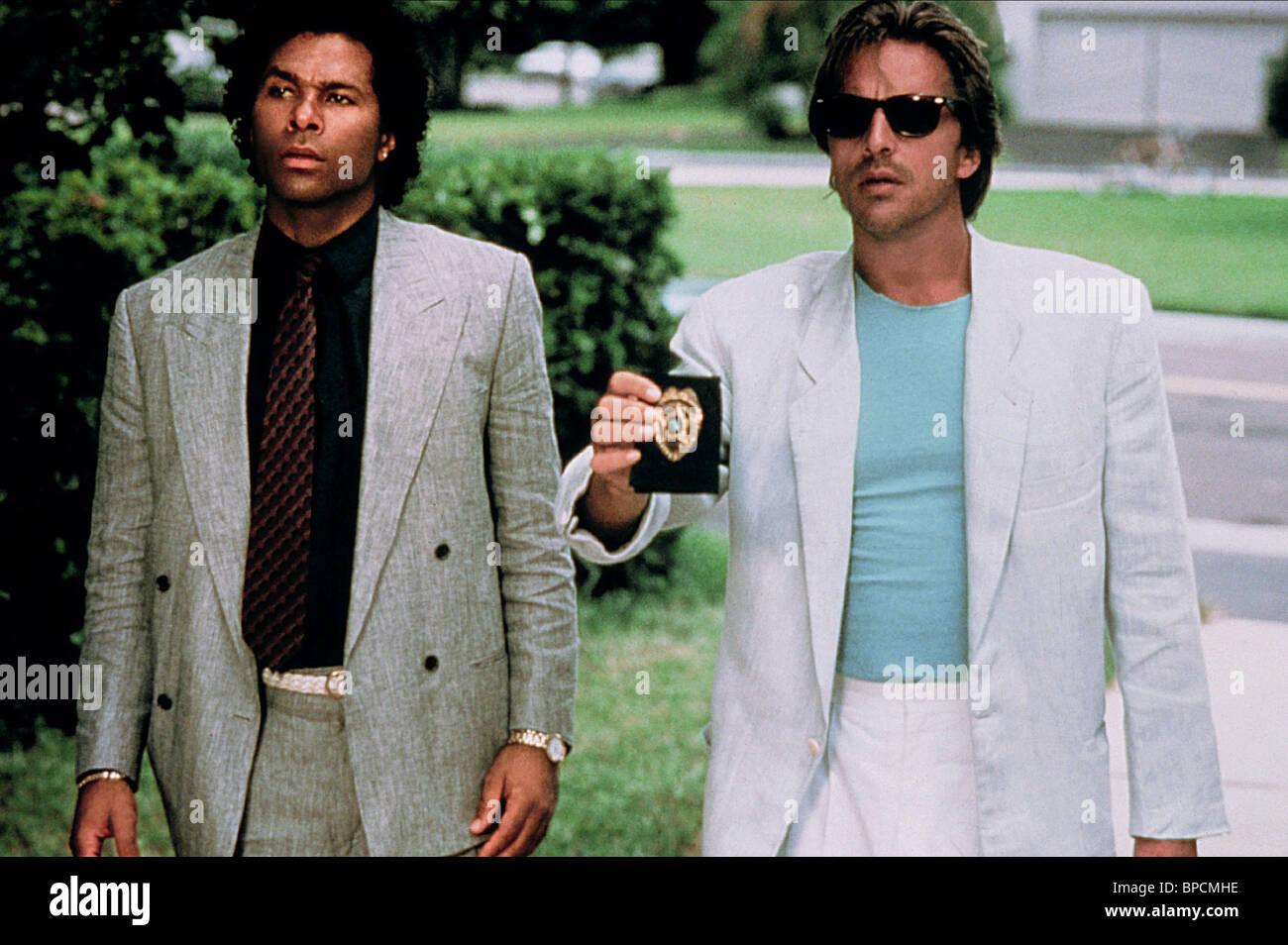 Philip Michael Thomas Don Johnson Miami Vice 1985 Stock