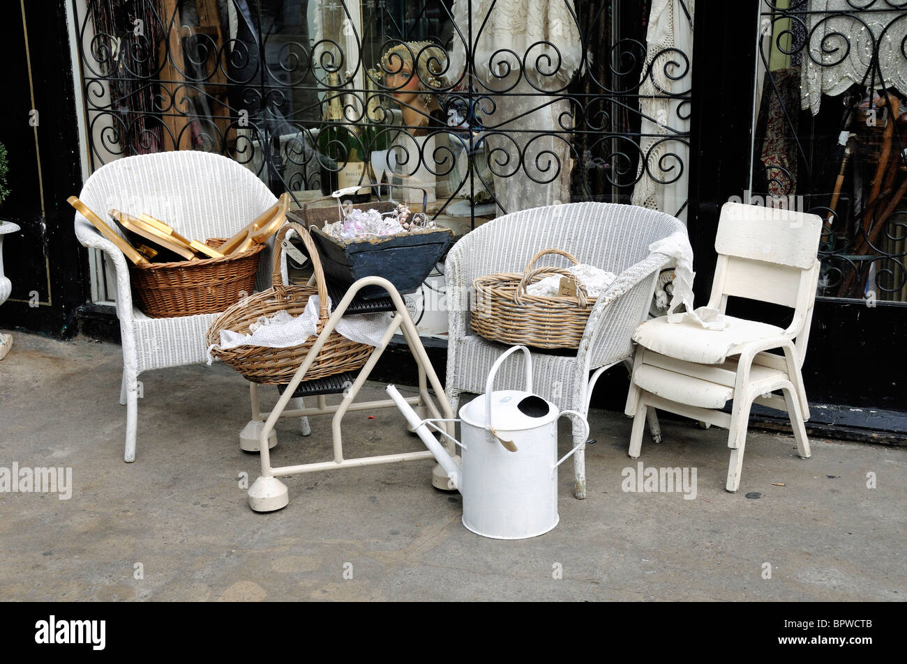 Display Of Vintage Items Outside Antique Shop Camden Passage Stock Photo Alamy