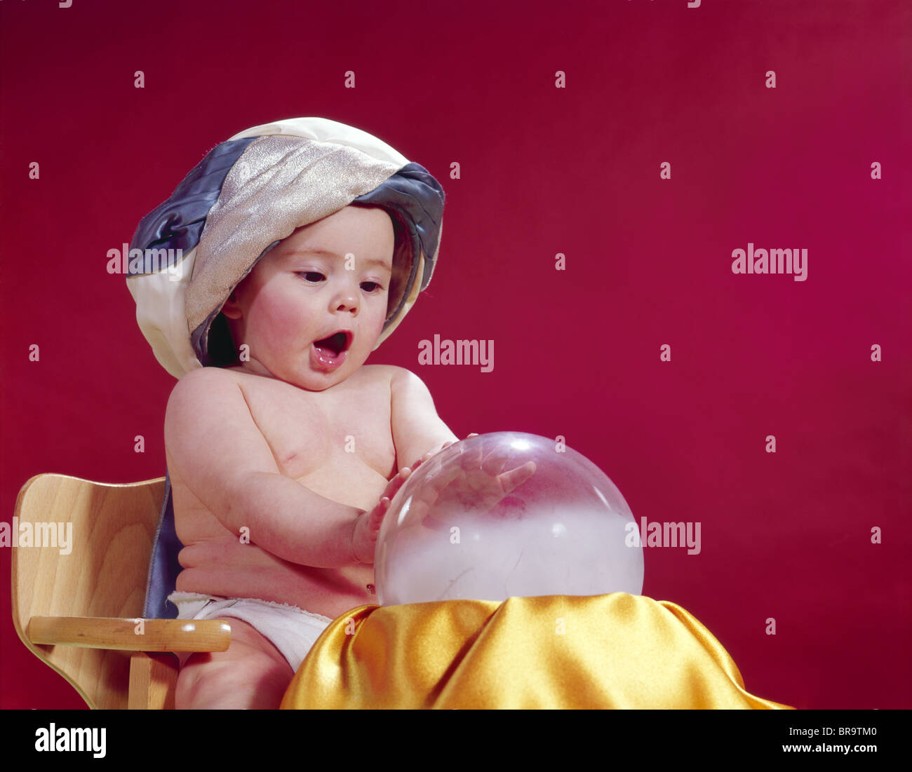 Baby Teller 1960s Baby Fortune Teller Wearing Turban Seated With Crystal