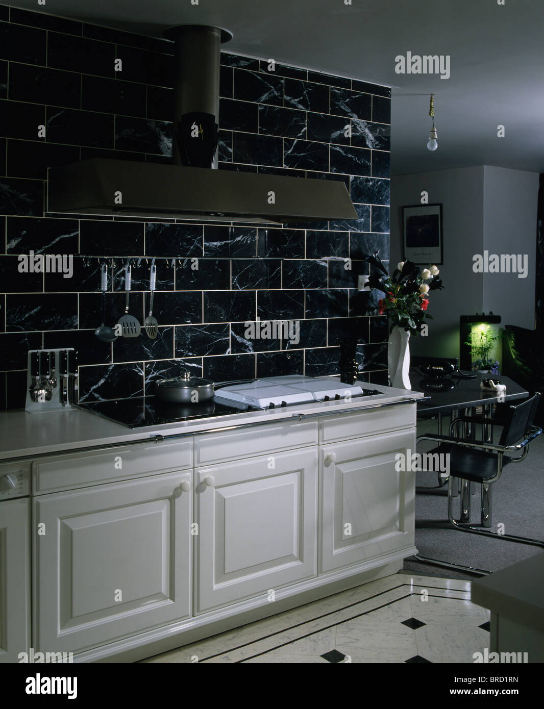Black And White Kitchen Wall Tiles Black Wall Tiles Above White Fitted Units In Modern White