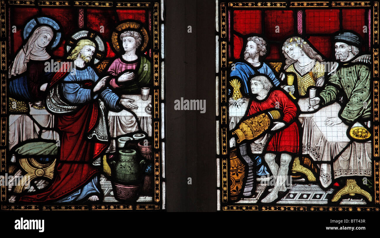 Cana Windows A Stained Glass Window Depicting The Marriage Party At Cana Jesus