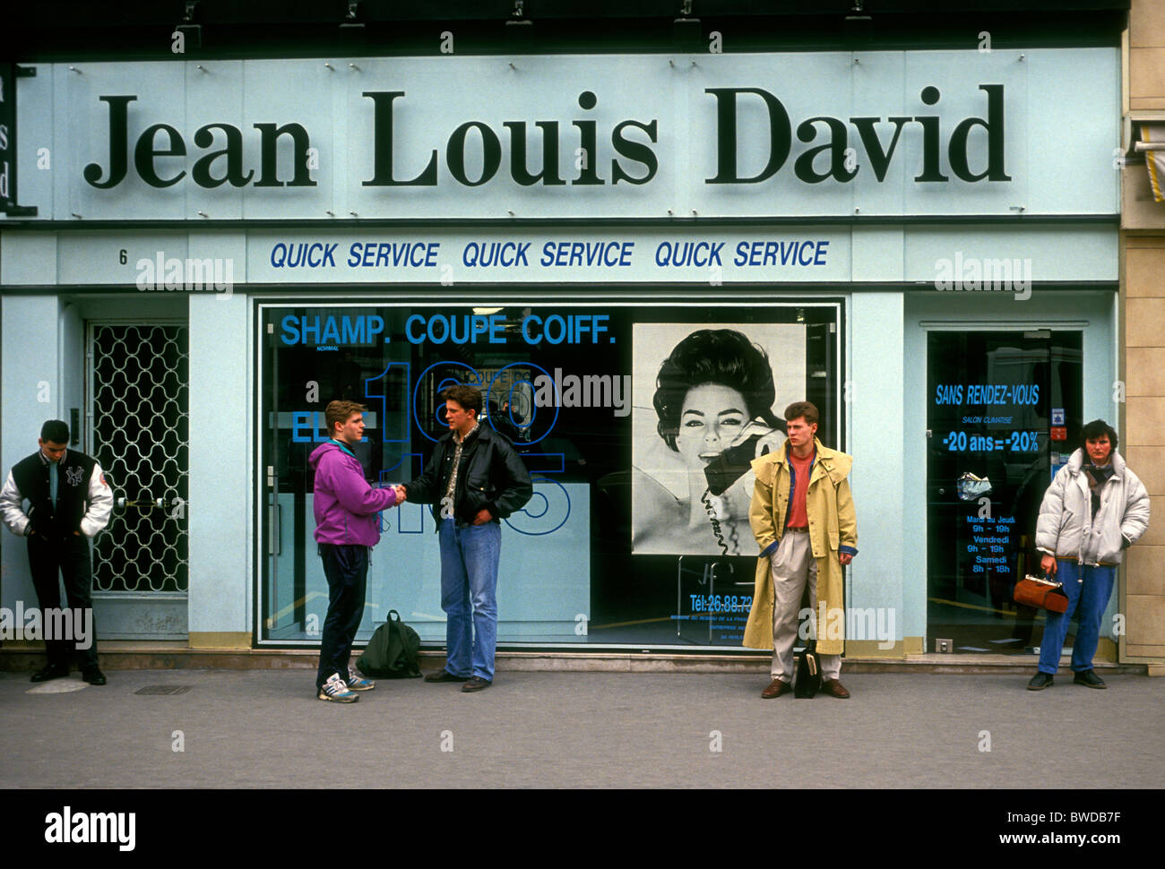 French People Greeting Jean Louis David Hair Salon Hairdresser Stock Photo Alamy