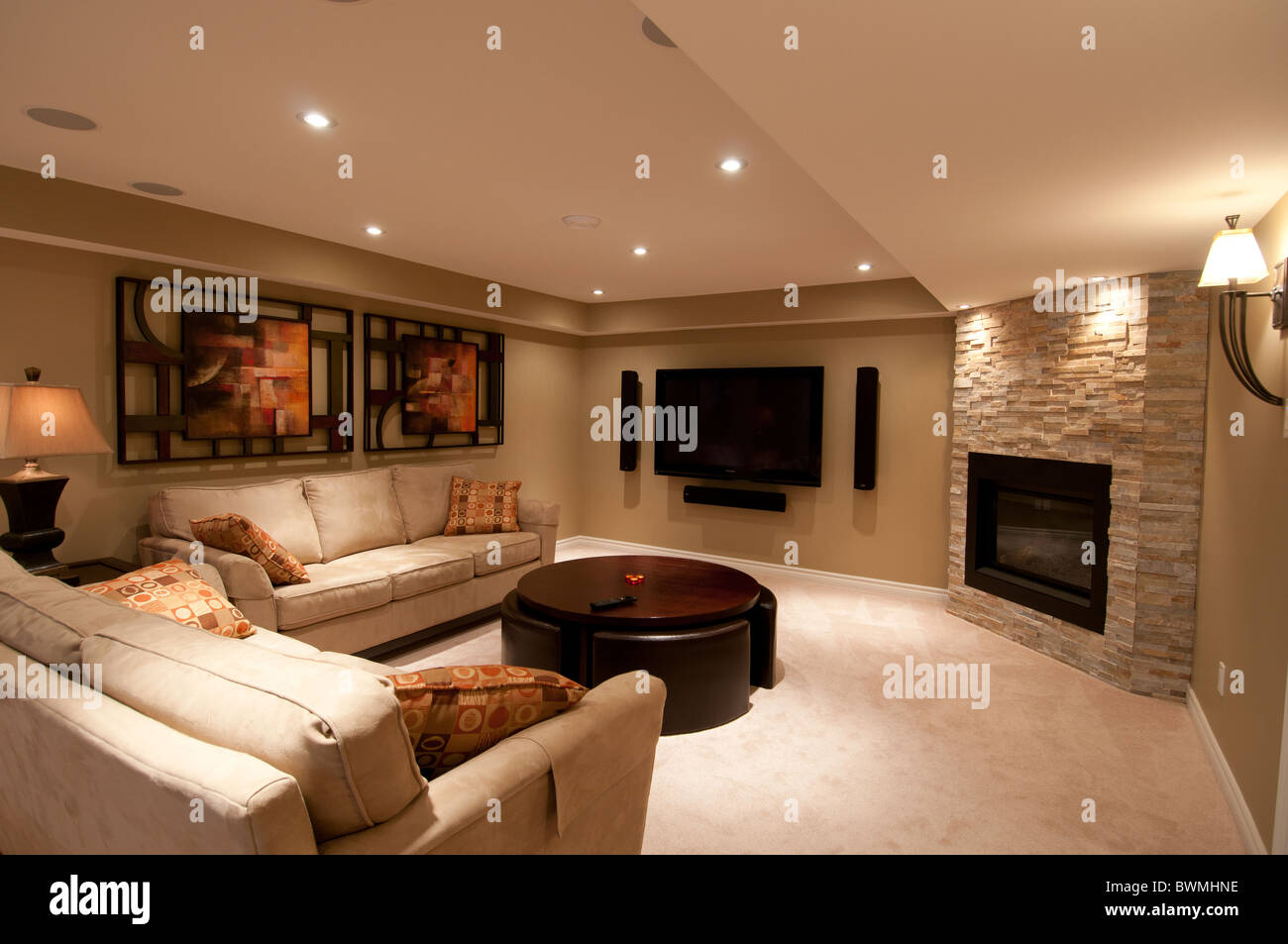 Basement Fireplace Ideas Basement In Luxury Residential Home With Fireplace And