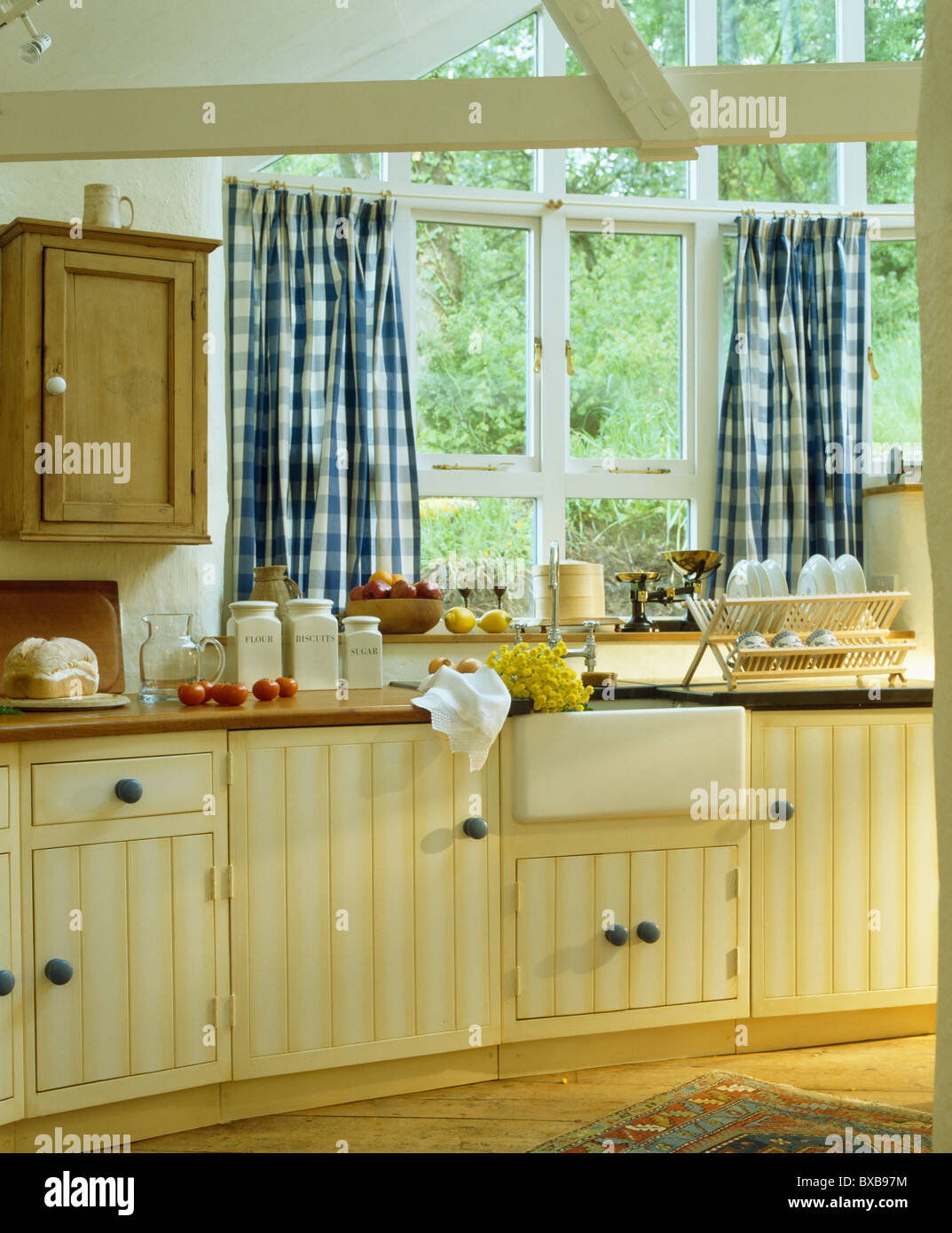 Kitchen Curtains For Yellow Walls Blue 43white Checked Curtains On Window Above Sink In