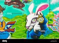 """""""Alice in Wonderland"""" graffiti wall art mural detail in ..."""