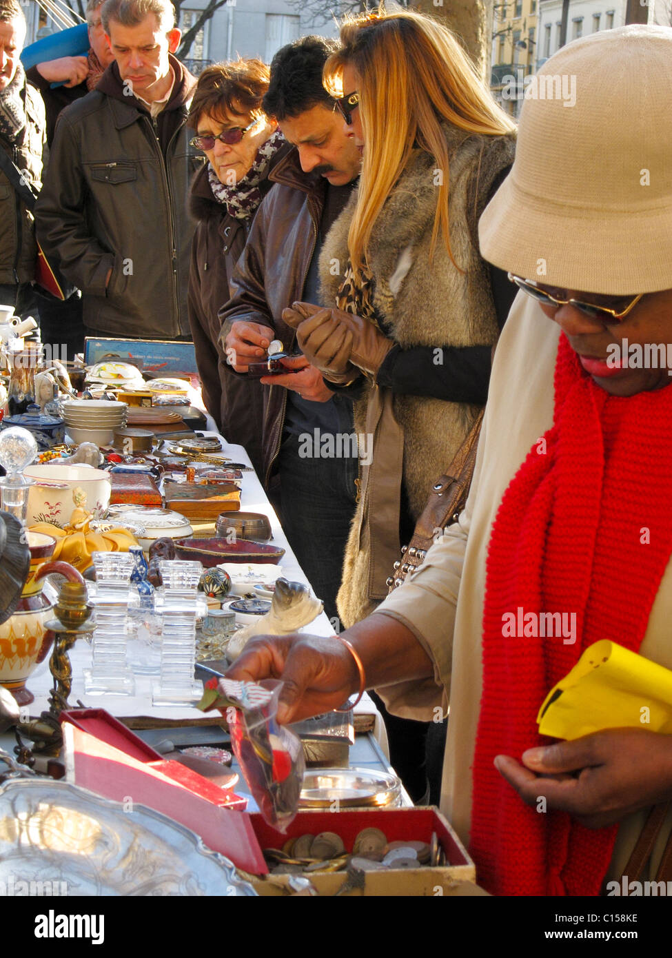 Brocante Cours De Vincennes Paris France Group People Shopping In French Flea Market