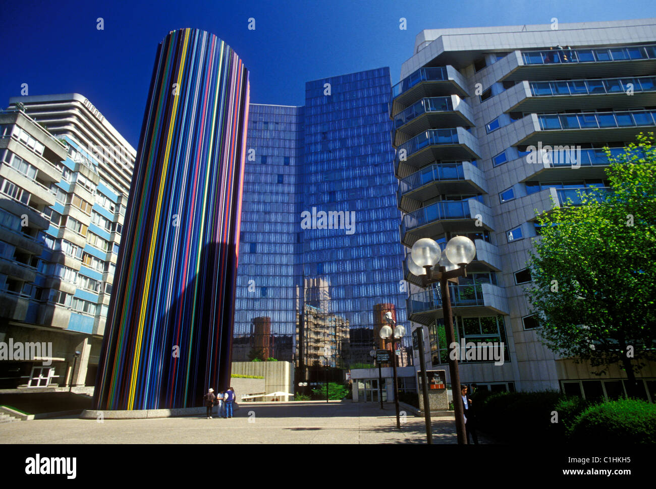 Cheminee D Aeration Colored Glass Modern Architecture Esplanade Du Stock Photo Alamy