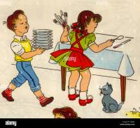 Boy & Girl set the table Stock Photo, Royalty Free Image ...