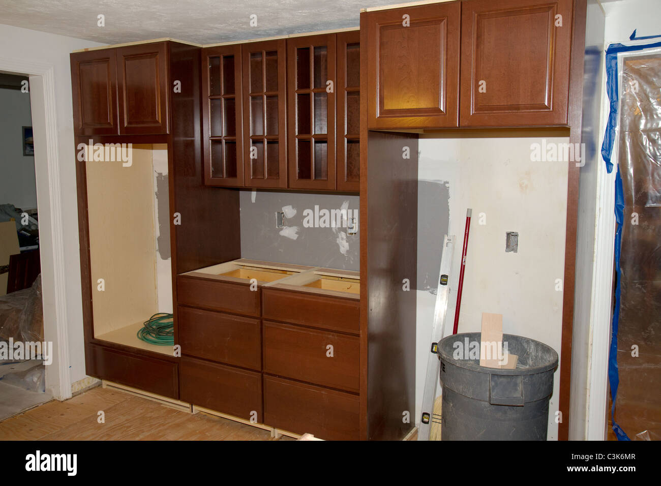 Cabinets Remodeling 1960 S Style American Home Kitchen During Remodeling New Cherry