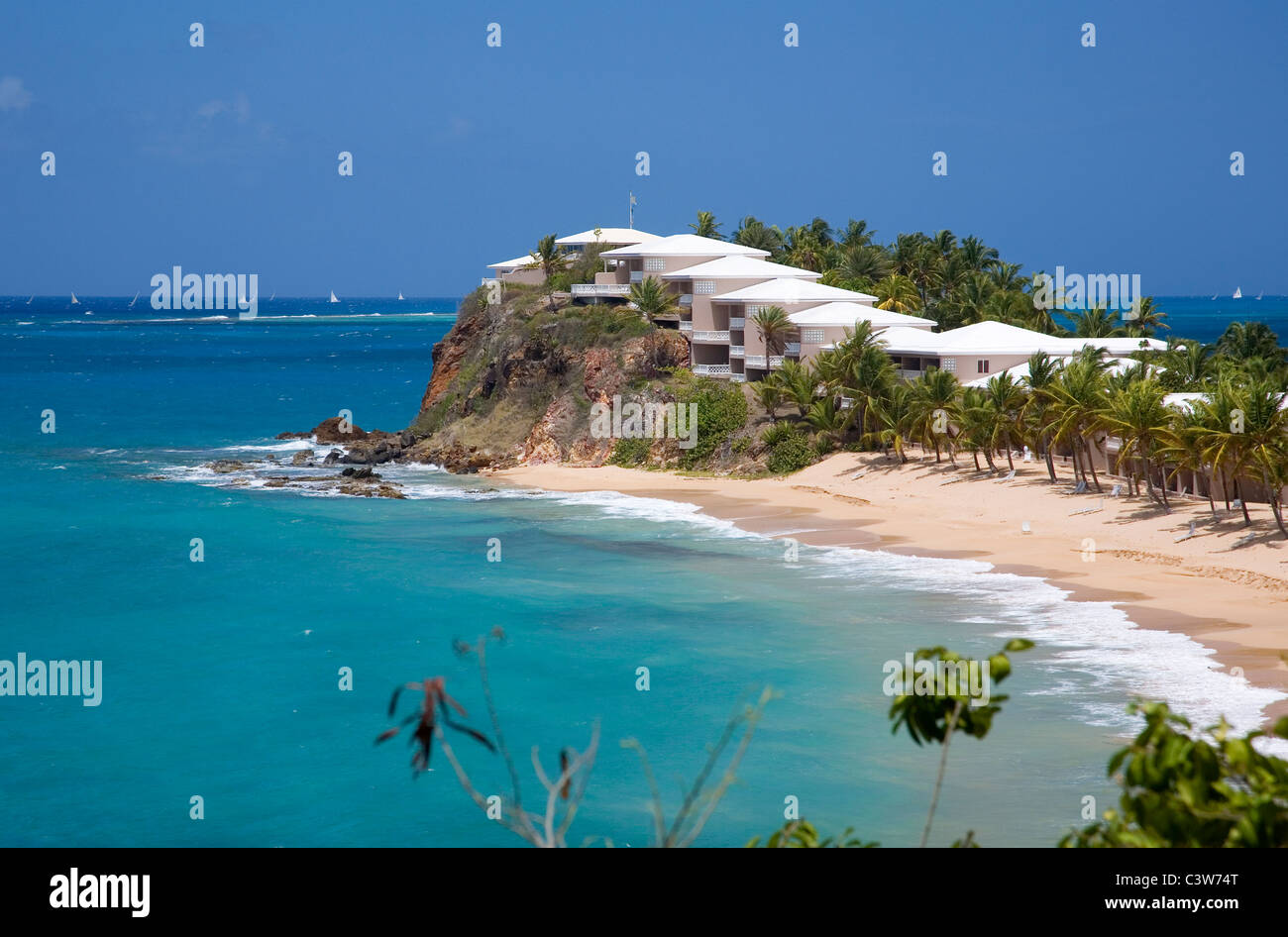 Antigua Curtain Bluff Curtain Bluff Resort Facing Carlisle Bay In Antigua Stock Photo