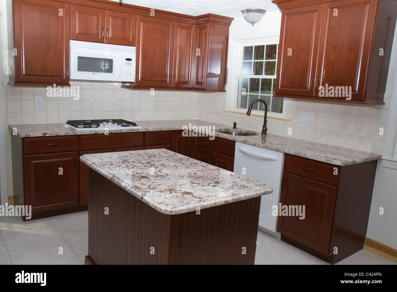 Preparing Cabinets For Granite Countertops New Cherry Cabinets Granite Counter Tops And Ceramic