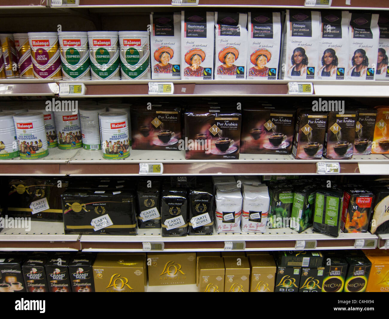 French Products Paris France Consumer Products Coffee On Shelves In