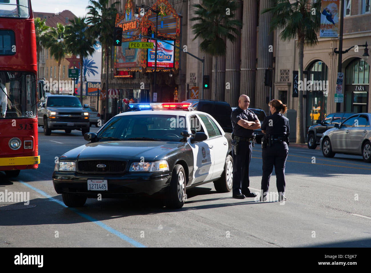 Police Car Lights Wallpaper Lapd Police Car With Lights Flashing In Hollywood Los