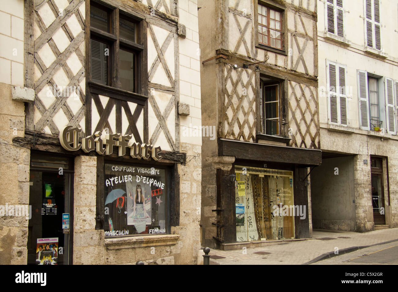 Coiffeur Blois Shops In The Old Town Blois Loire Valley France Stock Photo
