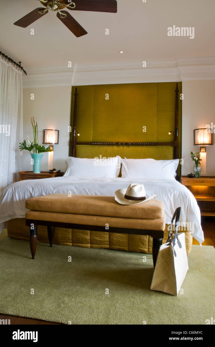 Luxury Ceiling Fan Suite Bed Room Of A Luxury Resort With Ceiling Fan Stock Photo