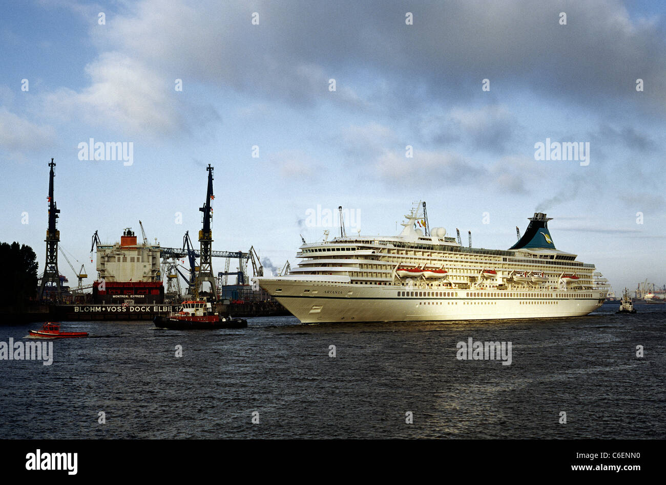 Ms Artania Cruise Ship Ms Artania Passes Blohm Voss Shipyard In The Port Of