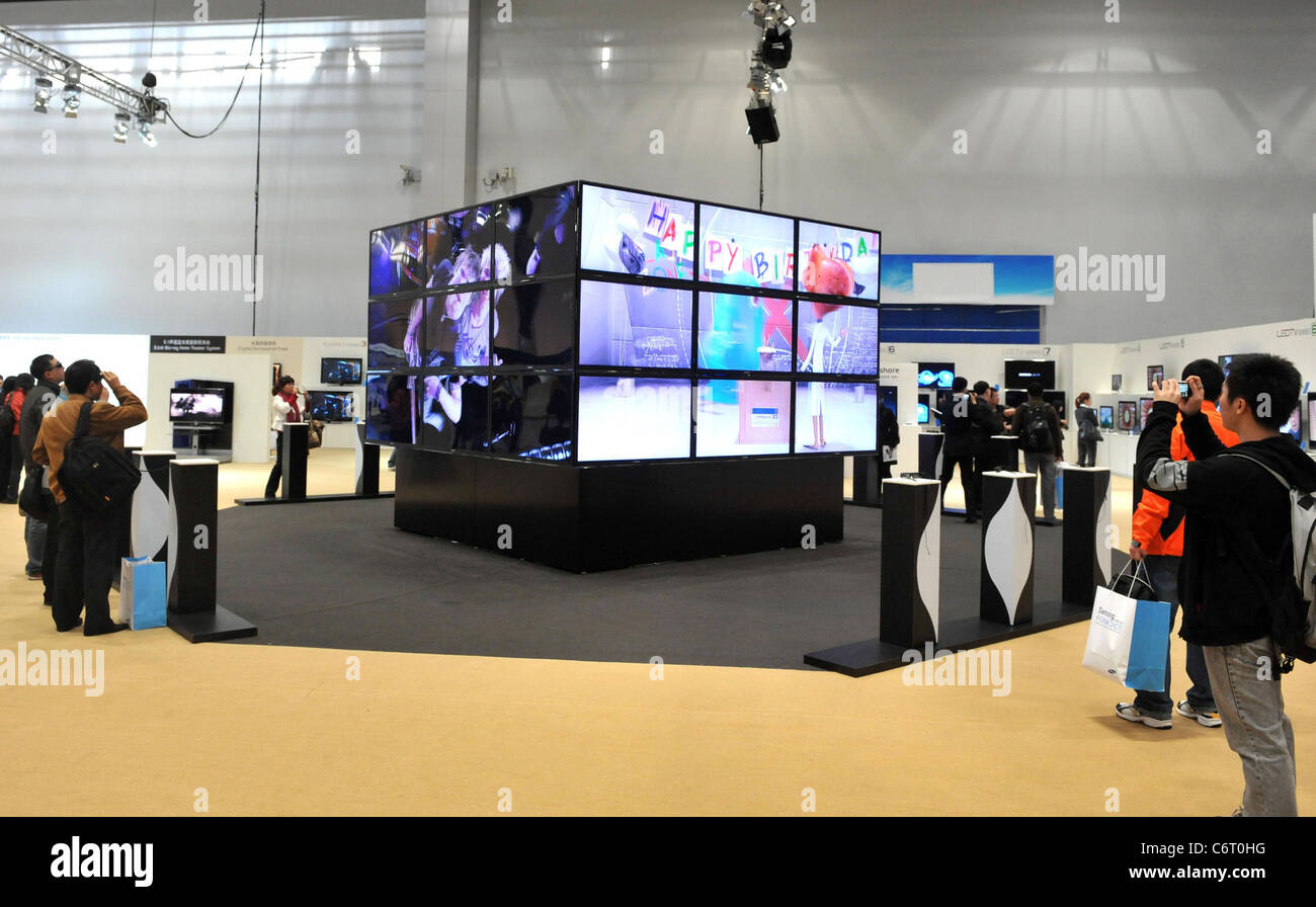 Led Wall China Visitors Watch The Samsung Electronics 3d Led Tv Wall Displayed In