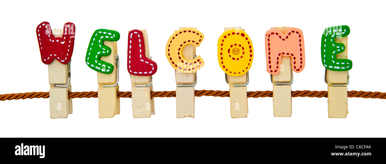 Welcome word clip on the rope Stock Photo 39613467 - Alamy