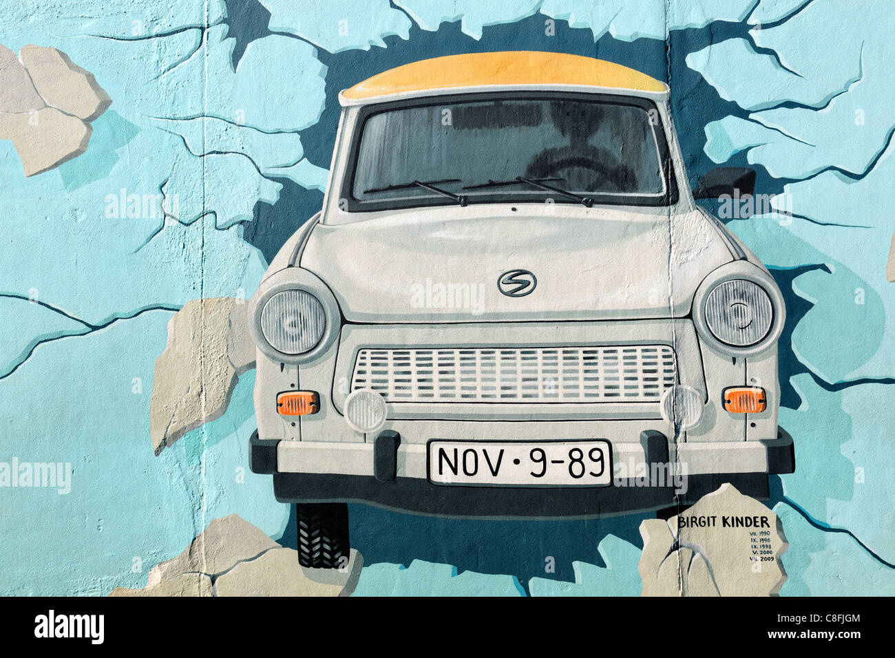 Trabant Clipart Mural Of Trabant Car Breaking Through Berlin Wall Stock