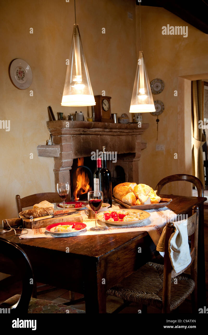 Italian Country Kitchen Italian Country Kitchen Serving Typical Italian Food And Red Wine