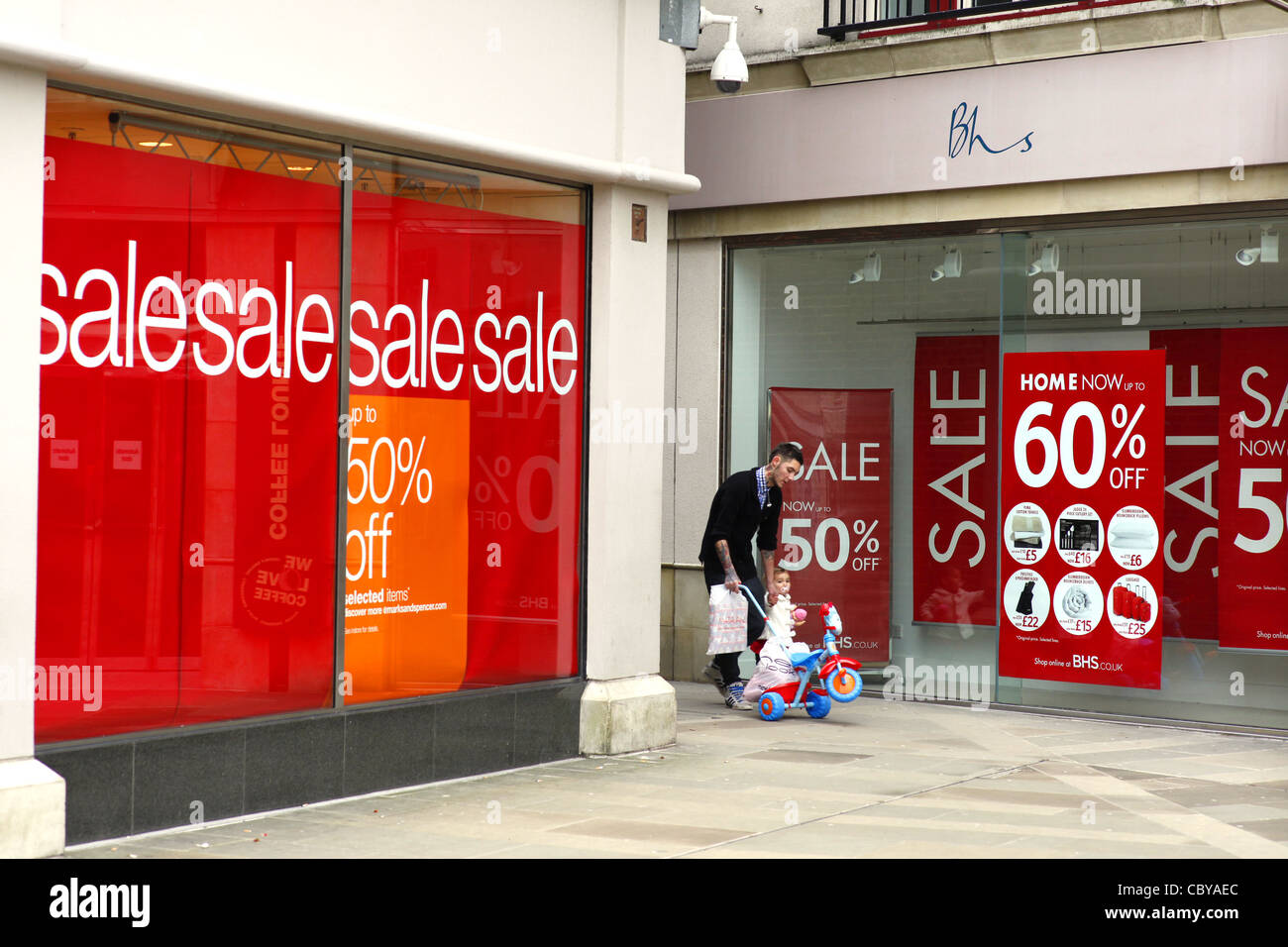 Windows On Sale Boxing Day Sale Posters In A Shop Window Stock Photo