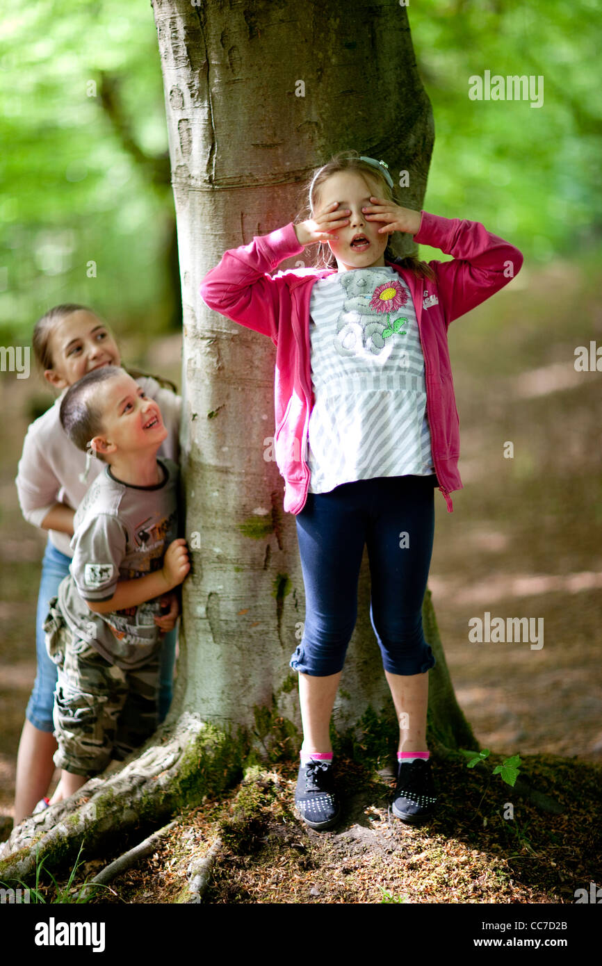 Hide And Seek Kids Children Play A Game Of Hide And Seek In The Woods Stock Photo