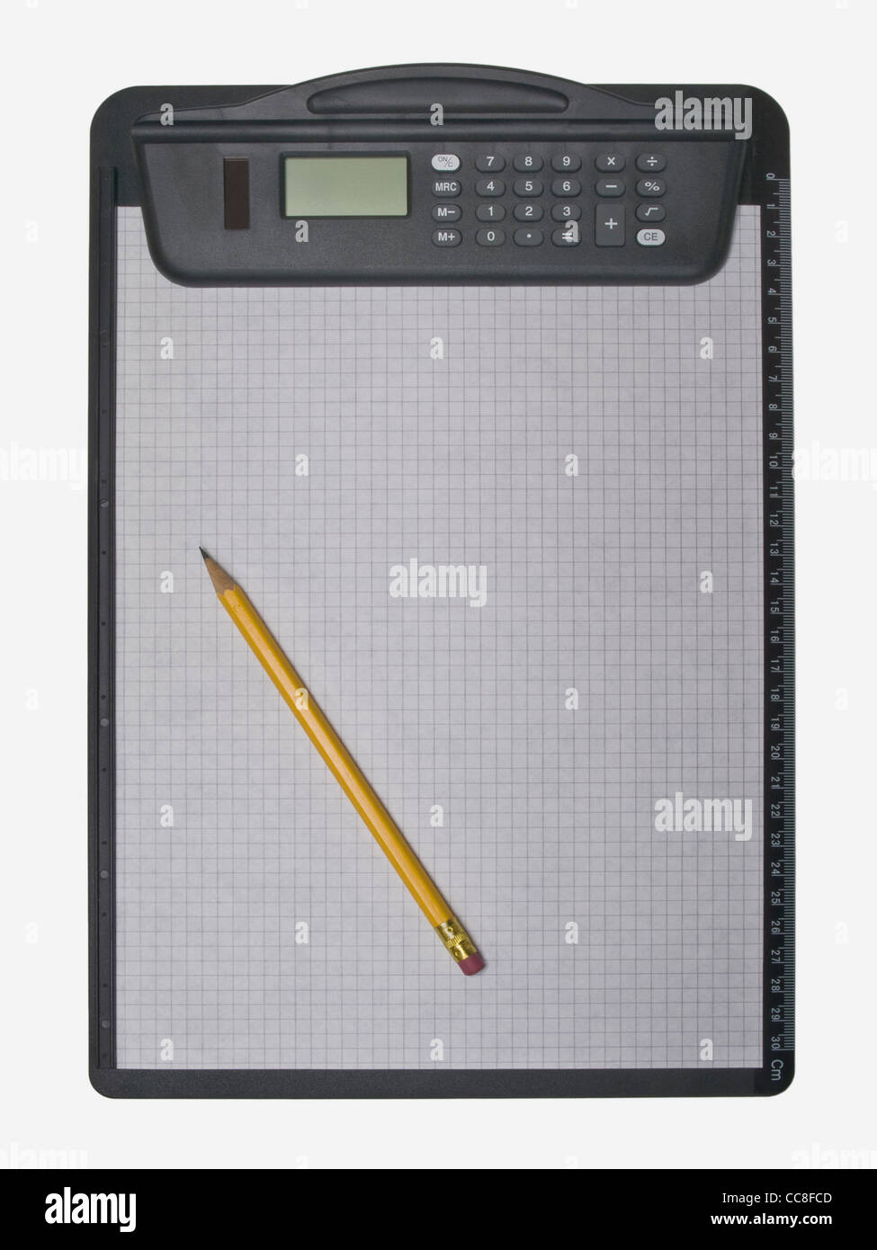 Klemmbrett Klammer A Clipboard With A Pocket Calculator And A Sheet Of Paper A Pen
