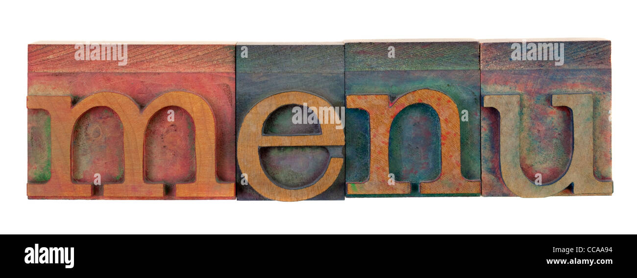 Word Menu Typography Restaurant Cut Out Stock Images  Pictures - Alamy