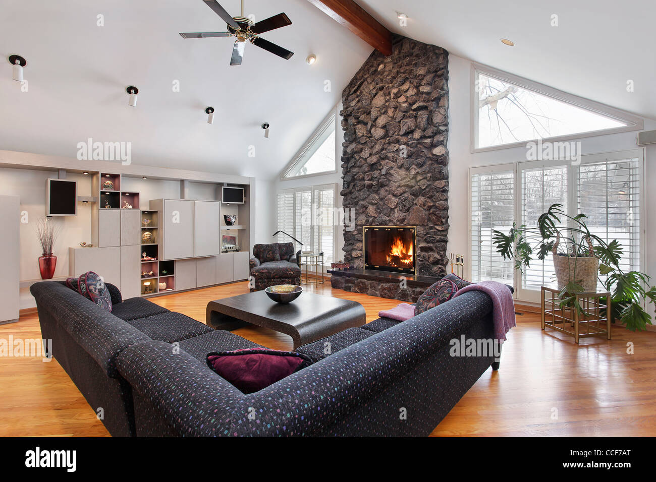 Fireplace Beams Family Room With Two Story Stone Fireplace And Wood Beams Stock
