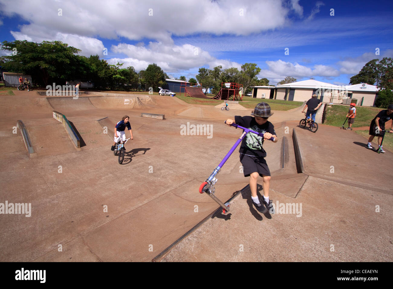 Stock photo the atherton skate park on the atherton tablelands in far north queensland australia is a popular place for local skaters