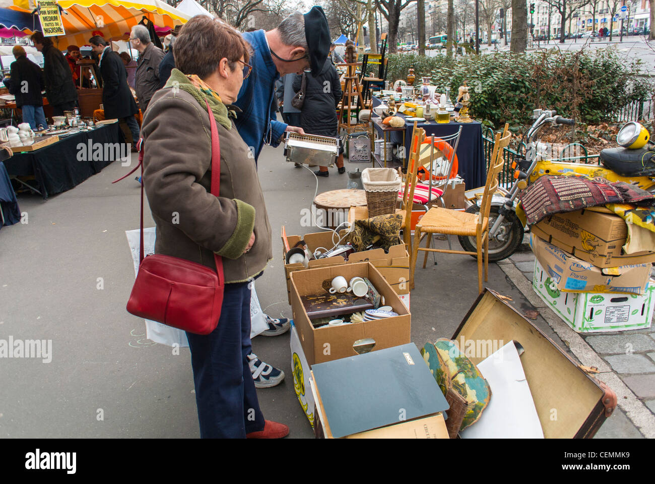 Brocante Cours De Vincennes Paris France Senior Woman Shopping At French Brocante Flea