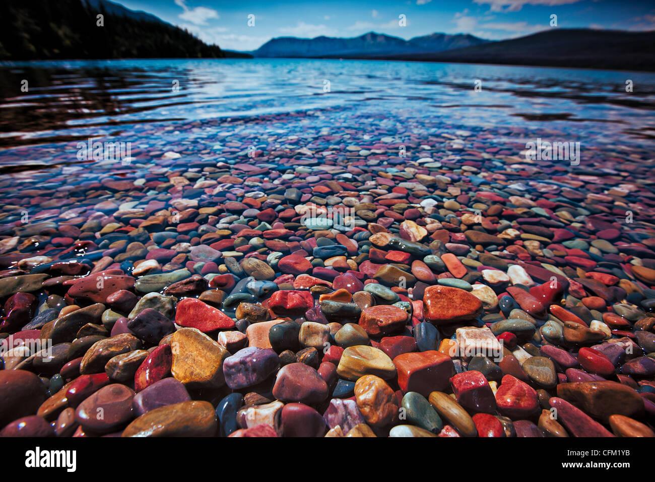 Fall Desktop Mountain Wallpaper Colorful Rocks On Lake Mcdonald In Glacier National Park