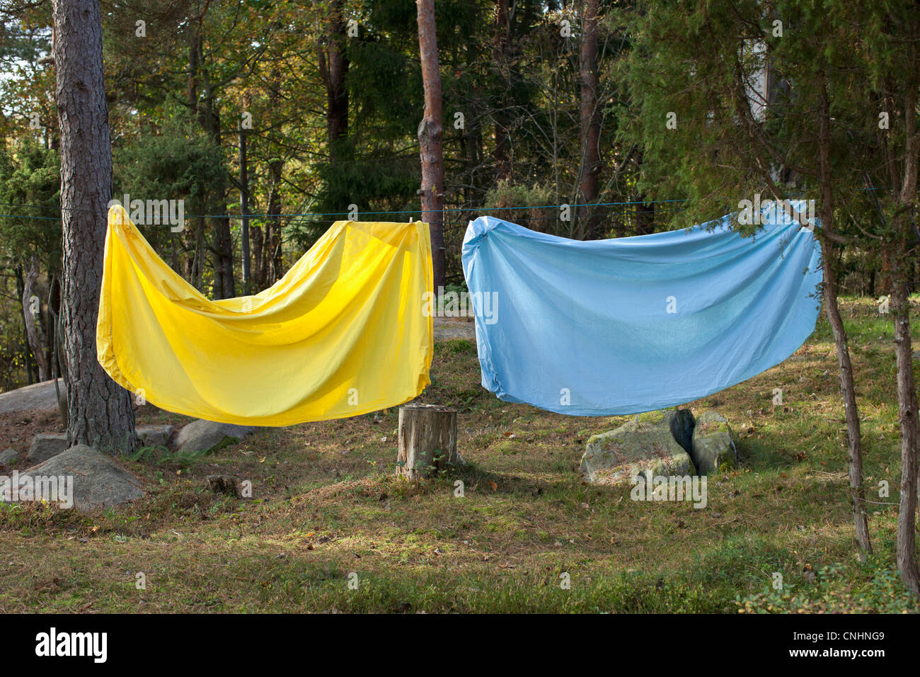 Bed sheet hanging on a clothes line