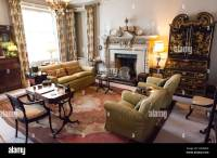 living room interior of an Victorian style English manor ...