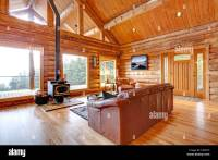 Large luxury log cabin house living room with large ...