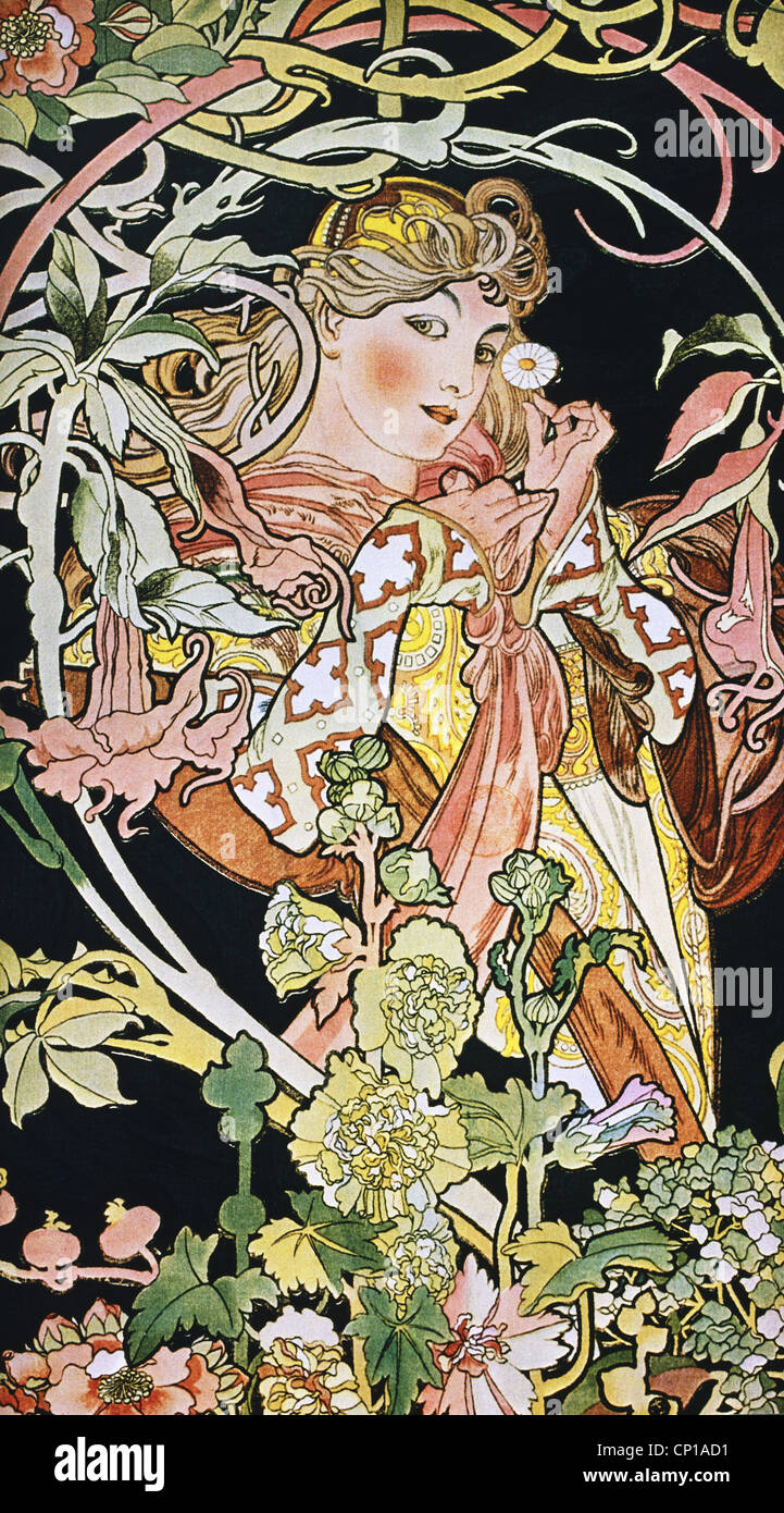Jugendstil Kunst Art Nouveau Woman Stock Photos Art Nouveau Woman Stock Images