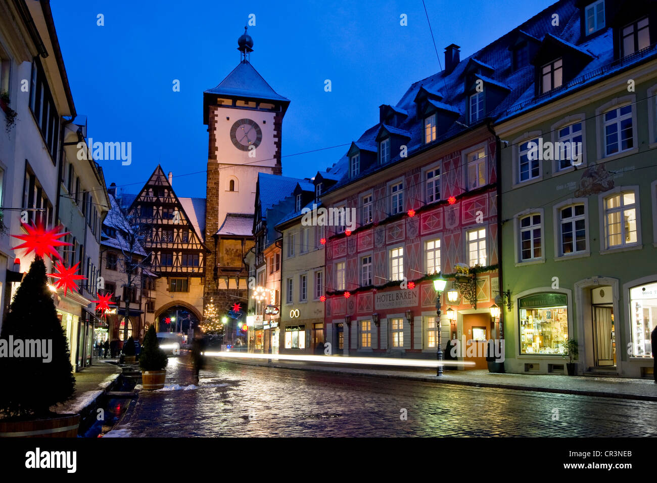 Freiburg Im Breisgau Shopping Schwabentor Gate Tower And Christmassy And Snowy Old Town