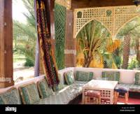 Traditional Moroccan decor in a riad in a Kasbah-style ...