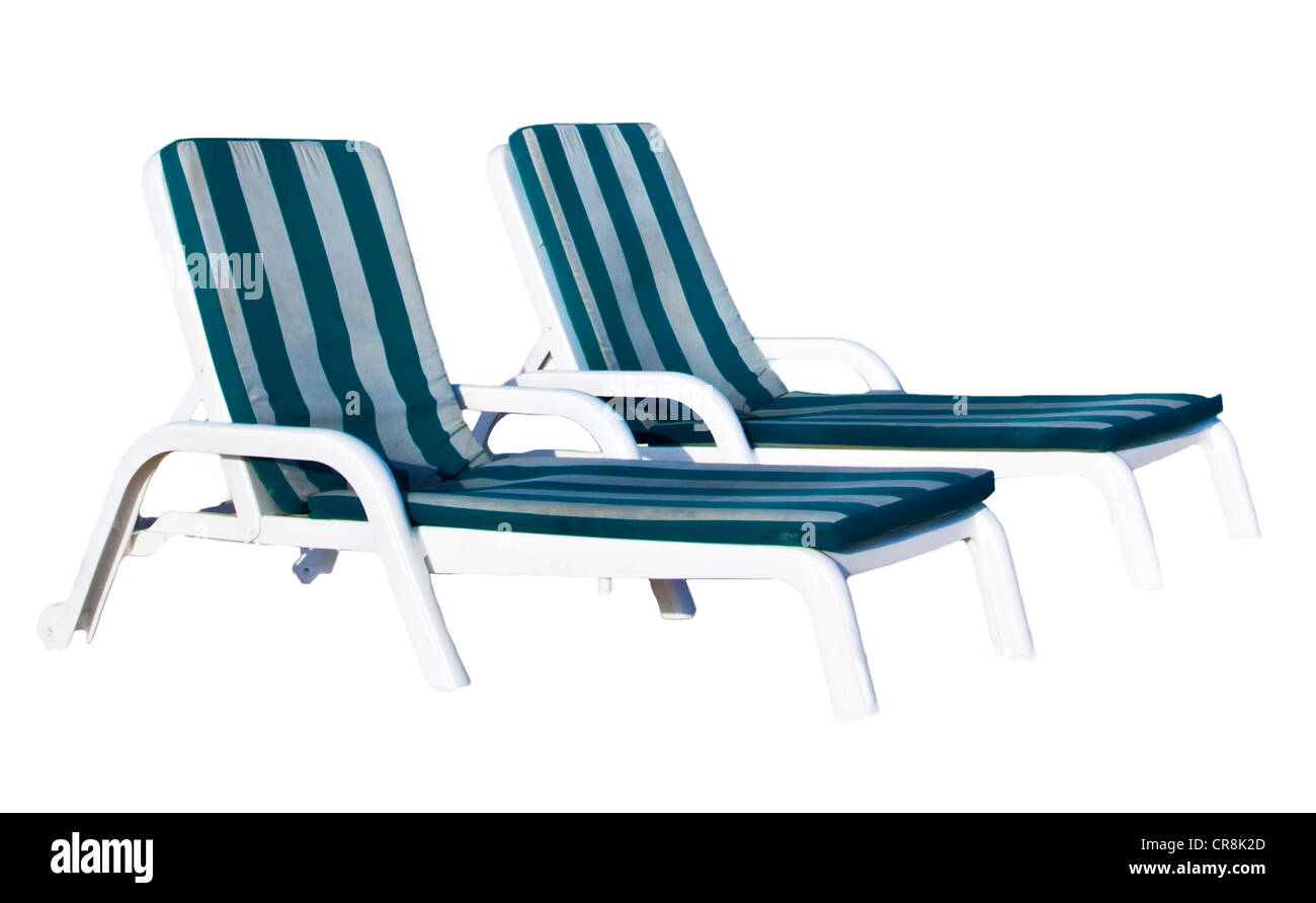 White Plastic Sun Loungers Two White Plastic Striped Sunloungers Or Sunbeds Side By Side Or